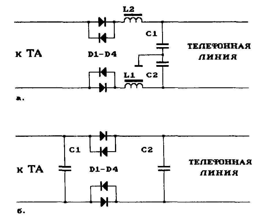 Схемы внешних фильтров комплексной защиты звонка и микрофона неактивного ТА. ронных средств с высоким входным...