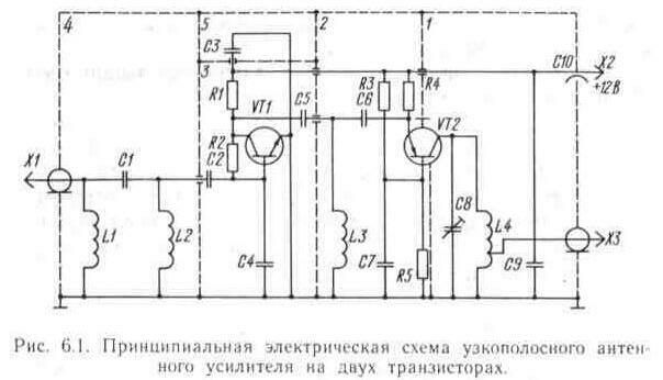 Принципиальная электрическая схема узкополосного антенного усилителя приведена на рис. 6.1.  Усилитель собран на двух...